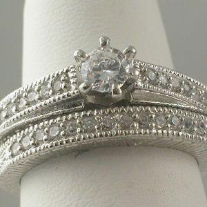 Vintage Style Engagement Wedding Ring Set size 7